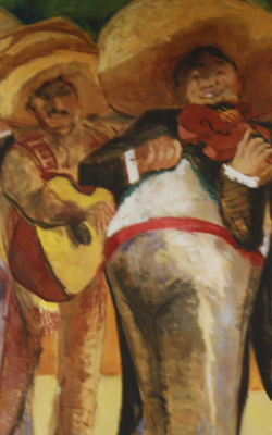 Painting of a Mariachi band.