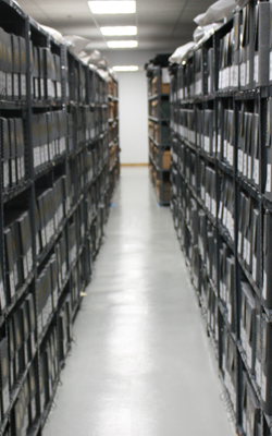 The South Texas Archives storage area.