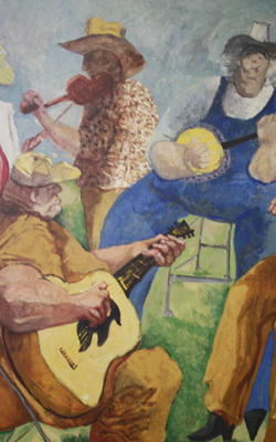 Painting of a band playing music.
