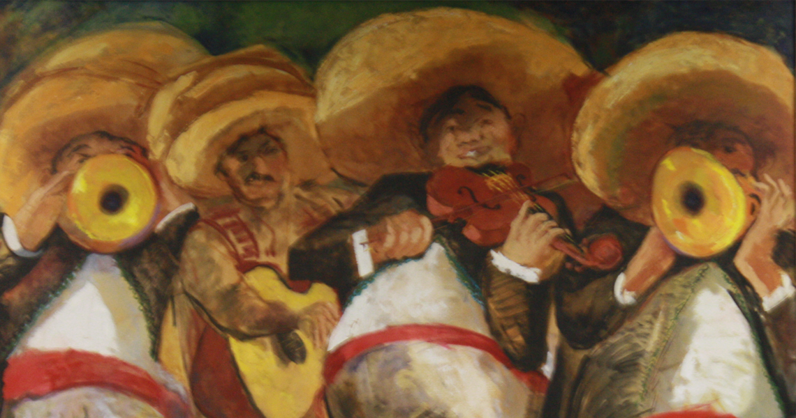 Painting of a mariachi.